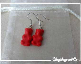 Earrings with polymer clay candy Teddy bear red costume jewelry pendants