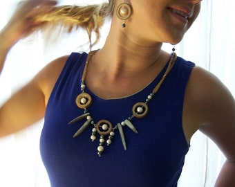 Bamboo and Freshwater Pearls on Leather Necklace and Earrings