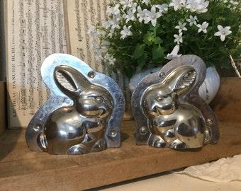 Old form of chocolate bunny 9 cm, shabby