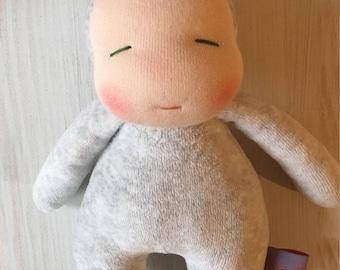 "handmade doll * 8"" waldorf * OOAK * silver"