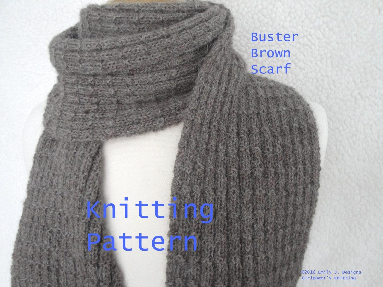 Buster Brown Scarf Easy Knit Knitting Pattern, Men & Women, Garter ...