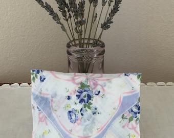 Vintage Handkerchief Handmade Lavender Sachet Blue and Pink