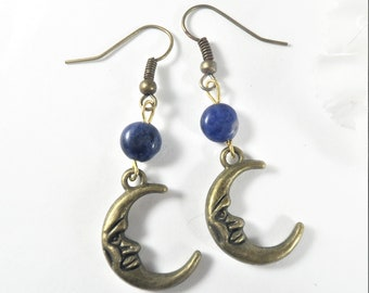 Crescent Moon Earrings, Moon Charm Celestial Earrings w Lapiz Lazuli, Gemstone Earrings, Moon Jewelry, Bronze Charm Pendant Earrings