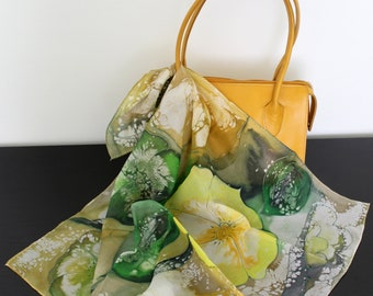 Painted Small neck scarf Silk square bag scarves Yellow green Olive green spring shawl small gift for teacher unique gifts for sister in law