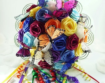 Over the Rainbow, Wedding Bouquet, Bridal Bouquet, Butterfly Bouquet, Rainbow Wedding, Origami Wedding Bouquet