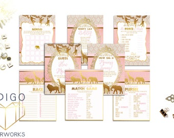 Pink and Gold Safari Baby Shower Games Package, Printable Games Safari Baby Shower Games,  Baby Girl Shower Games Bundle Instant Download