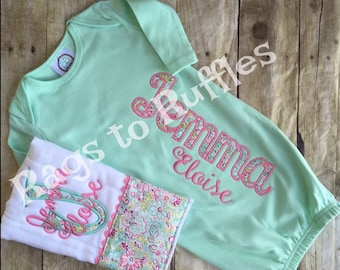 Baby Girl Monogrammed Gown- Baby Girl Coming Home Outfit - Newborn Girl Gown- Monogrammed Burp Cloth