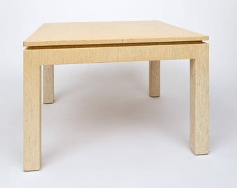 Karl Springer Lacquered Linen End Table.