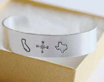 State to State Cuff Bracelet, No Matter Where, Hand Stamped Jewelry, Long Distance Friendship Gift, Aluminum, Thick Bracelet, Best Friend
