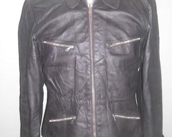 Late 40's German Men/Women Motorcycle Leather Coat/Jacket , Brown Color Excellent Condition
