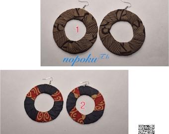 Afrocentric Earrings, Brown African print earrings,Hoop Earrings, Dangle earrings, Artisan jewelry,Ankara earrings, handmade earrings, Gift