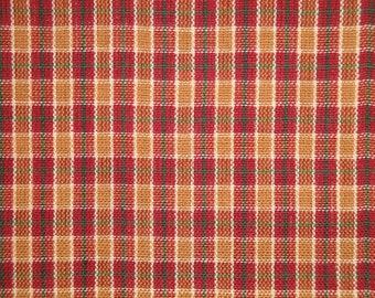 Cotton Homespun Fabric | Small Plaid Fabric | Plaid Fabric | Wine Sand Green White Plaid Fabric | Primitive Plaid Fabric | Cotton Fabric
