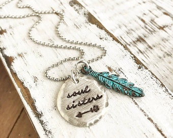 Soul Sisters Necklace . Best Friends Necklace . Friend Gift . Friendship Jewelry . Feather Necklace . Personalized Jewelry . Sorority