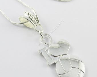 Netball I Love Netball Charm Pendant Necklace with a 925 Snake Chain 56cm