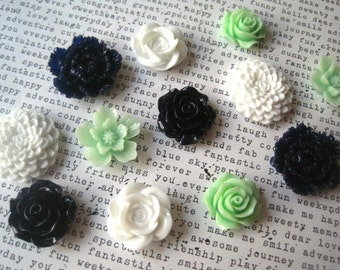 Magnet Set, 12 pc Flower Magnets, White, Mint Green and Navy Blue, Strong Magnets, Kitchen Decor, Housewarming Gift, Wedding Favor