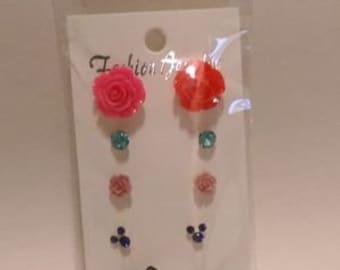 stud earring , 4 pairs,