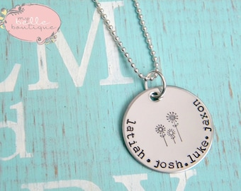 Personalized Names Necklace with Triple Flower Stamp