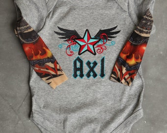 Rock Star Personalized Embroidered Tattoo Sleeve Shirt