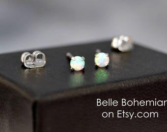 White Opal Earring - White Fire Opal - Stud Earrings - Opal Stud Earrings - Tiny Studs - 3mm Opal - Dainty Opal Earrings - Belle Bohemian
