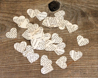 confetti party wedding decor - 500 paper hearts, book pages, love story wedding centerpiece
