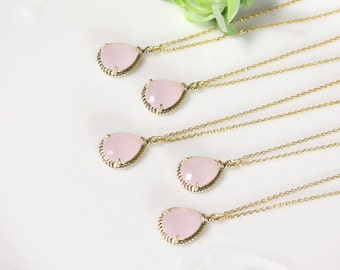 Bridesmaid gifts - Set of 7, 8, 9 - Pink crystal pendant necklace, Gorgeous Drop ,stone in twisted bezel, light pink, B0083-G