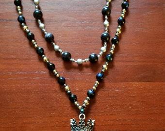 Beaded skeleton king necklace