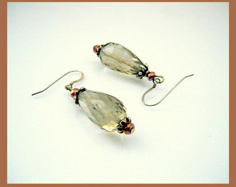 Earrings - Smoky Quartz - Swarovski crystal - Sterling silver