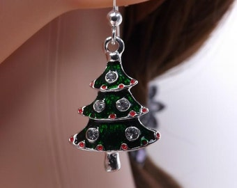 Cute little green enamel Christmas tree earrings on sterling silver ear wires