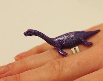 Glitter Purple Plesiosaur / Loch Ness Monster Repurposed Plastic Toy Ring