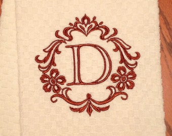 """Embroidered Hand Towel, """"Free Shipping"""" - Kitchen Towel,  Dishtowel -"""" Damask Design with Initial"""" - Handmade - Monnogrammed Tea Towel"""
