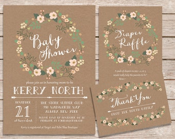 rustic baby shower invitation set / floral baby shower invitations / printable invitations / printed invites