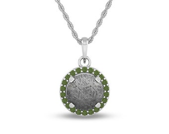 August Birthstone Necklace with Peridot and Meteorite on 14k White Gold Personalized Pendant