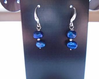 925 Sterling Silver, Lapis Blue Dangle Earrings