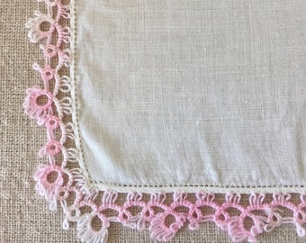 Vintage White Hanky with Pink Hand Crocheted Lace Hankie~Handkerchief Bridal
