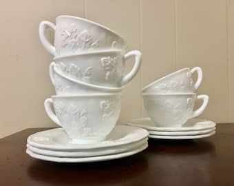 Milk Glass Tea Cups & Saucers - Set of 6 - Indiana Glass Colony Harvest Grape Pattern / White Tea Set (2 Sets of 6 Available)