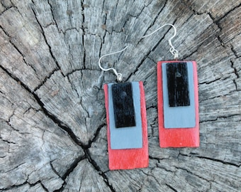 Tri-Color Hand Painted Earrings: Black, Grey and Orange