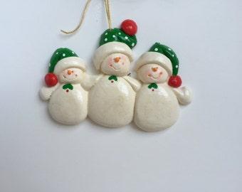 RETIRING DESIGN...Personalized Snow Cap Family of 3 Christmas Ornament,family ornament ,FSU family, Florida snow family, Christmas  family.