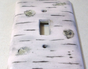 ON SALE WAS 10.95: White birch bark  light switch cover single toggle