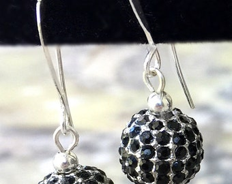 Black Pave Crystal Earrings, Black Dangle Earring,  Boho, Pave Drop Earrings, Pave Dangle Earrings, Silver Ear Wires, Filigree Earrings