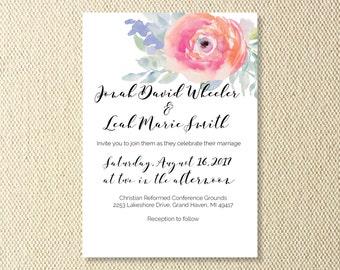 PRINTABLE Floral Wedding Invitations