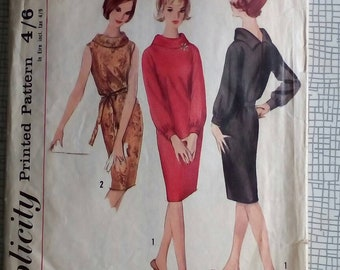 """1964 Dress - 36"""" Bust - Simplicity 5625 - Vintage Sewing Pattern"""