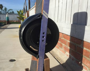 Onewheel stand with Custom lettering, reclaimed wood