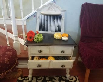 French Country Two Drawer End Table