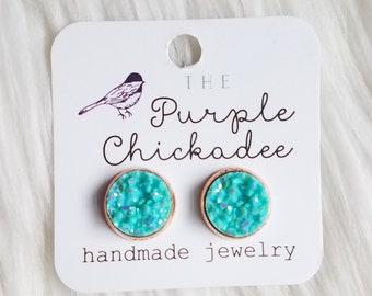 12mm Druzy Stud Earrings - Robin Egg Blue, Faux Druzy, Pink Earrings, Sparkly Earrings, Trendy Jewelry