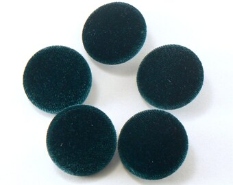 "5 - 1"" Emerald Green Velvet Fabric Buttons - Fabric Covered Shank Buttons - Handmade Fabric Buttons - 25 mm Sewing Buttons  #FBV-27-08"