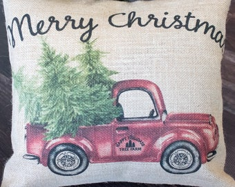Merry Christmas burlap throw pillow - Old School red truck full of Christmas Cheer from the Happy Holiday's Tree Farm