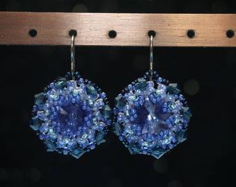 Herringbone Stitched Earrings with Swarovski Crystals