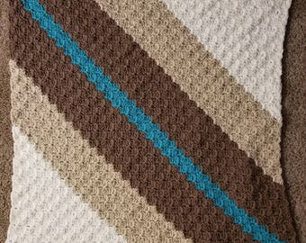 River in the Desert Handmade Crochet Baby Blanket in Brown, Beige, and Teal Stripes