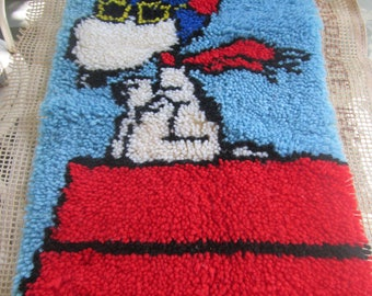 VINTAGE Snoopy Red Barron latch hook rug wall art