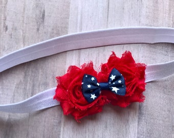 JULY 4th Infant/Children's Headband: Red Chiffon flowers w/star bow on a White stretch headband Infant, Toddler, Children's, Girl